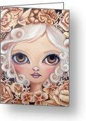 Mocha Greeting Cards - Vintage Blooms Greeting Card by Jaz Higgins
