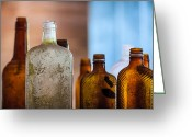 Grunge Greeting Cards - Vintage Bottles Greeting Card by Adam Romanowicz