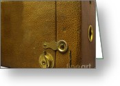 Knob Greeting Cards - Vintage Box Camera Greeting Card by Yali Shi