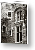 Medieval Architecture Greeting Cards - Vintage Bruges Architecture Greeting Card by John Rizzuto