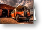 Shed Greeting Cards - Vintage Bus  Greeting Card by Rob Hawkins