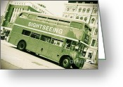 Old Street Greeting Cards - Vintage Bus Greeting Card by Sophie Vigneault