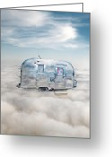 Camp Greeting Cards - Vintage Camping Trailer in the Clouds Greeting Card by Jill Battaglia