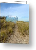 Camp Greeting Cards - Vintage Camping Trailer Near the Sea Greeting Card by Jill Battaglia