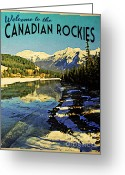 Canada Digital Art Greeting Cards - Vintage Canadian Rockies Greeting Card by Vintage Poster Designs