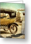 Edwardian Greeting Cards - Vintage Car and Lady with Parasol Greeting Card by Jill Battaglia