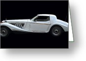 Graphic Pyrography Greeting Cards - Vintage Car On Black Greeting Card by Radoslav Nedelchev