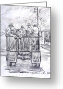 Workers Drawings Greeting Cards - Vintage Car Pool Greeting Card by Bill Joseph  Markowski