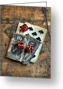 Spades Greeting Cards - Vintage Cards Dice and Cash Greeting Card by Jill Battaglia