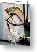 Baby Room Greeting Cards - Vintage Carousel Horses Greeting Card by Glennis Siverson