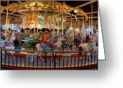 Horse Art Giclee Greeting Cards - Vintage Carousel Greeting Card by Suzanne Gaff