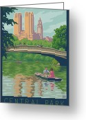 Manhattan Digital Art Greeting Cards - Vintage Central Park Greeting Card by Mitch Frey