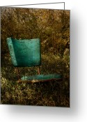 Rural Posters Framed Prints Greeting Cards - Vintage Chair Greeting Card by Larysa Luciw