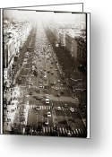 Champs Elysees Greeting Cards - Vintage Champs Elysees Greeting Card by John Rizzuto