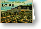 Jardins Greeting Cards - Vintage Chateau de Villandry Loire Greeting Card by Vintage Poster Designs