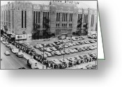 E Black Greeting Cards - Vintage Chicago Stadium Print - Historical Blackhawks Black  White Greeting Card by Horsch Gallery