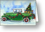 Model A Greeting Cards - Vintage Christmas Greeting Card by Mark Jennings