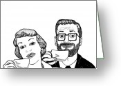 Coffee Drawings Greeting Cards - Vintage Coffee Time Greeting Card by Karl Addison