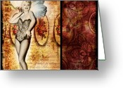 Marylin Greeting Cards - Vintage Collage 5 Greeting Card by Angelina Cornidez