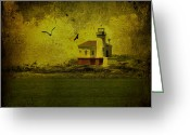 Seagull Photo Greeting Cards - Vintage Coquille River Lighthouse Greeting Card by Diane Schuster