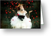 Idaho Artist Greeting Cards - Vintage Dancer Series Raining Rose Petals  Greeting Card by Cindy Singleton