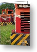 Cabin Window Greeting Cards - Vintage Diesel Engines Greeting Card by Yali Shi