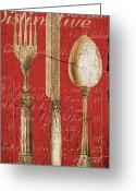 Cafe Greeting Cards - Vintage Dining Utensils in Red Greeting Card by Grace Pullen