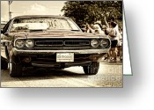4th July Greeting Cards - Vintage Dodge Charger Greeting Card by Andre Babiak
