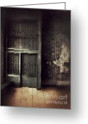 Dilapidated Greeting Cards - Vintage Elevator Greeting Card by Jill Battaglia