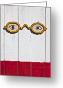 Old Glasses Greeting Cards - Vintage eye sign on wooden wall Greeting Card by Garry Gay