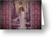 Femme Fatale Greeting Cards - Vintage Femme Fatale Greeting Card by Mary Morawska