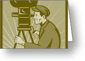 Man Digital Art Greeting Cards - Vintage film camera director Greeting Card by Aloysius Patrimonio
