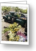 Cape Cod Greeting Cards - Vintage Flower Truck-Nantucket Greeting Card by Tammy Wetzel