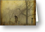 Otherworldly Greeting Cards - Vintage Fog Greeting Card by Gothicolors With Crows