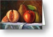 Orange Greeting Cards - Vintage-Fruit Greeting Card by Linda Hiller