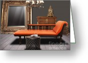 Cabinet Room Greeting Cards - Vintage Furnitures Greeting Card by Atiketta Sangasaeng