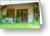 Screen Doors Greeting Cards - Vintage Gas Station in Springtime  Greeting Card by Connie Fox