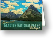 Montana Digital Art Greeting Cards - Vintage Glacier National Park Greeting Card by Vintage Poster Designs