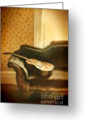 Vintage House Greeting Cards - Vintage Guitar on Sofa Greeting Card by Jill Battaglia