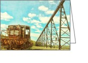 Railroad Tracks Greeting Cards - Vintage Industrial Postcard Greeting Card by Olivier Le Queinec