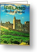Medieval Architecture Greeting Cards - Vintage Ireland Rock Of Cashel Greeting Card by Vintage Poster Designs