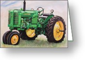 Farm Greeting Cards - Vintage John Deere Tractor Greeting Card by Toni Grote