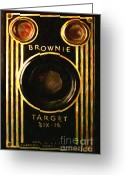 Slr Greeting Cards - Vintage Kodak Brownie Target Six-16 Camera . Version 2 Greeting Card by Wingsdomain Art and Photography