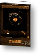 Slr Greeting Cards - Vintage Korona View Camera . sepia . 7D13356 Greeting Card by Wingsdomain Art and Photography