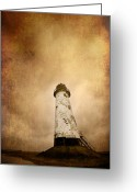 Lighthouse Greeting Cards - Vintage Lighthouse Greeting Card by Meirion Matthias