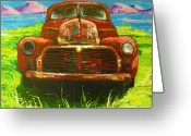 Antique Truck Greeting Cards - Vintage love Greeting Card by Patricia Awapara
