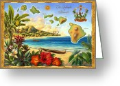 Banana Tree Greeting Cards - Vintage Map of Hawaii Greeting Card by Anne Wertheim