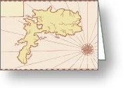 Exploration Digital Art Greeting Cards - Vintage Map of Island Greeting Card by Aloysius Patrimonio
