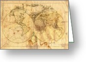 Antique Map Digital Art Greeting Cards - Vintage Map Of The World Greeting Card by Michal Boubin