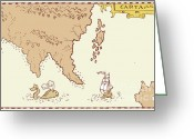 Exploration Digital Art Greeting Cards - Vintage Map Treasure Island Tall Ship Whale Greeting Card by Aloysius Patrimonio